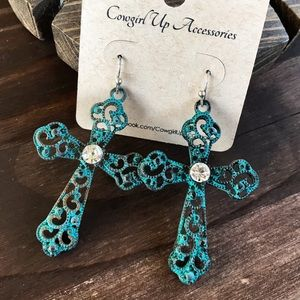 Patina Cross Earrings